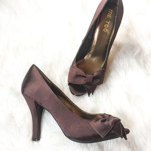 Brown Satin Peek Toe Heels by Me Too SZ 9